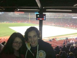 Sarah (right) with a friend at Fenway Park.